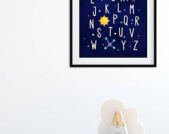 Space Alphabet Nursery Print, Outer Space Alphabet Poster, Space Theme Nursery ABC Wall Art Boy Nursery Decor, Rocket Ship Kids Printable