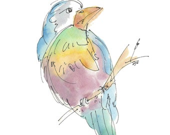 "OOMAZOOMALOOMA BIRD..Clipart / Digital Download / Hi Resolution of Original Watercolor . 8""x10"" Great for a multitude of applications."
