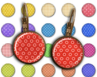 75% OFF SALE Polka Dot - 18mm, 16mm, 14mm, 12mm, 10mm Circles Digital Collage Sheets E-004 Printable for Earring, Rings, Jewelry Making