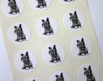 Yorkshire Terrier Dog Stickers One Inch Round Seals