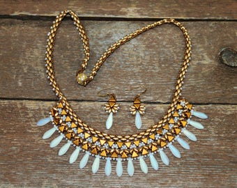 hand beaded necklace, handmade necklace, Egyptian necklace, matte AB daggers, Gold matte super duos, Gold Kheops, Egyptian style,greco roman