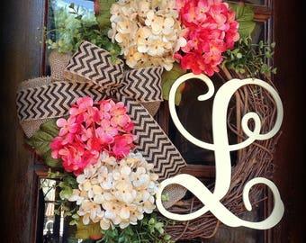 Spring door wreath, Summer wreath, Summer door wreath, burlap wreath, hydrangea wreath, country wreath, Front door wreath, wreath initial