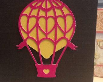Valentines Hot Air Balloon Card - Blank Inside - Engagement Card - Love You - Heart Balloon