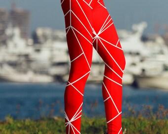 Red Yoga Leggings / Capris / High Waisted Shorts / High Waist Capri / Printed Leggings / Fun Prints / Unique Designs