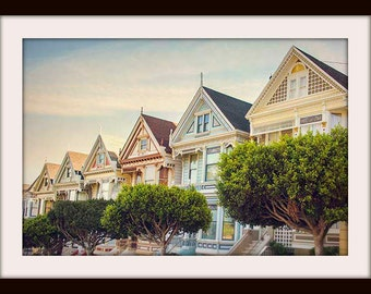 San Francisco Art, Cottage Chic Wall Art, San Francisco Print, Painted Ladies, Victorian Houses, Teal, Pastels, Travel Photography