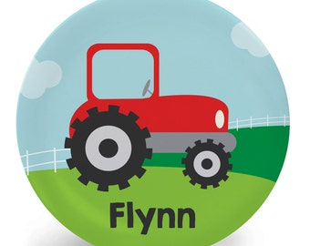 Tractor Plate - Child's Plate - Child's Bowl - Farmer Melamine Bowl or Plate Personalized (Plastic)