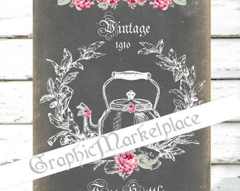 Chalkboard Tea Kettle Cup of Tea Time Instant Download  Transfer Burlap digital collage sheet graphic printable No. 775