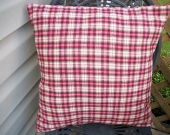 Red Tan Black Plaid Flannel Check Pillow Cover 18 x 18 Lodge Rustic Cabin Cottage Farmhouse, Checkered Plaid Pillow Cover Envelope Closure