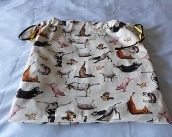 """Fabric Gift BAG Gym bag """"YOGA for Animals""""-print Cotton lined"""