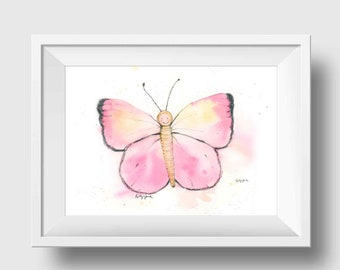 Pink Butterfly Wall Art - Butterfly Girls Room - Butterfly Nursery Print - Butterfly Wall Decor - Children's Butterfly Art Print