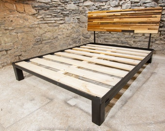 Modern Style Bed Frame With Slanted Headboard From Reclaimed
