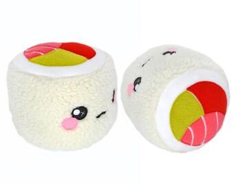 Sushi Roll - California - plushie pillow cushion novelty home decor food kawaii salmon fish rice plush toy soft fluffy handmade nigiri unagi