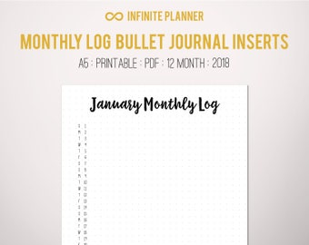 Monthly Log A5 (2018) - Bullet Journal Printable PDF