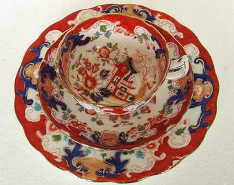 Antique 1880th  Imari pattern with Pink Crown Mark Tea Cup Trio Tea Set