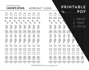 Printable PDF - Workout Icon Planner Stickers - Perfect for your journal or planner - Just print, snip and stick!