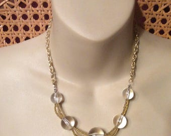 Vintage clear round acrylic beads double link chain necklace.