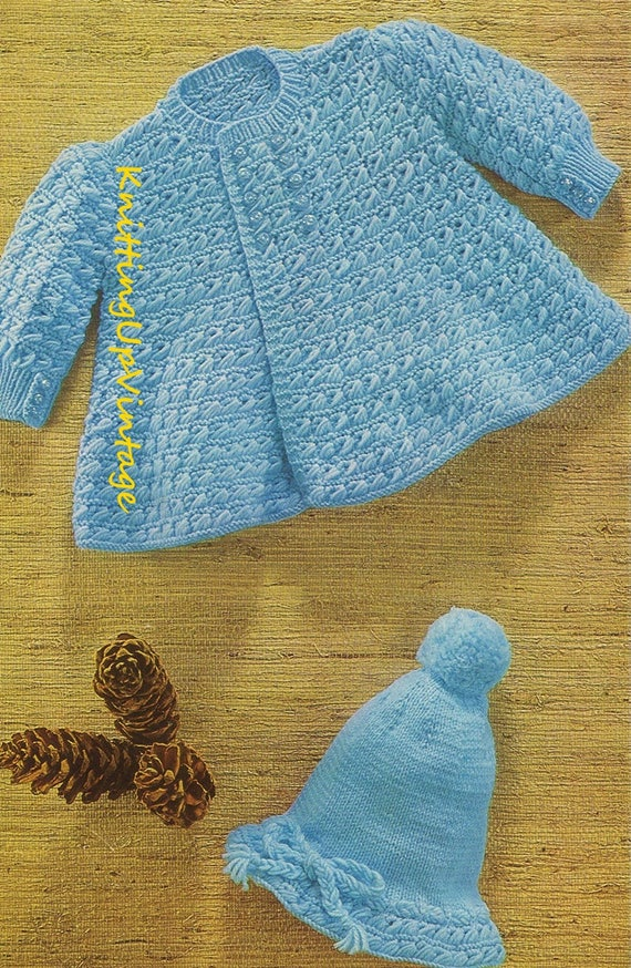 Baby Knitting Pattern Pdf Coat And Hat Double Knit