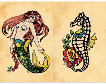 Old School Tattoo MERMAID and SEAHORSE Art Flash Prints 5 x 7, 8 x 10 or 11 x 14 Set