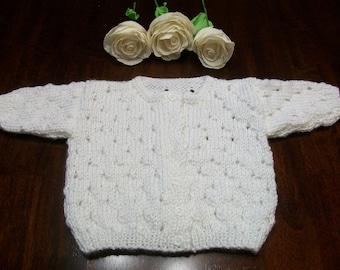 White Baby Cardigan, White Baby Sweater, White Baby Top, Newborn White Cardigan, Newborn White Top