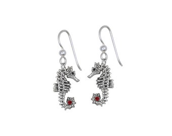 Solid Sterling Silver Seahorse Earrings Jewelry With Birthstone Accents SE3-SE