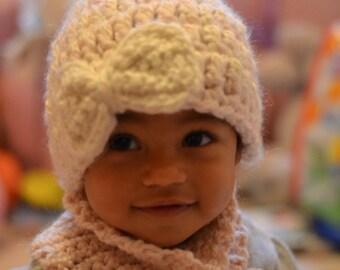 Baby Girl Bow Hat- Crochet- Photo Prop