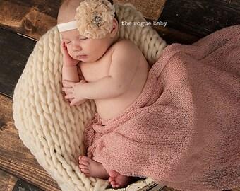 Dentelle crème bandeau - Centre de strass perle - nouveau-né infantile enfant en bas âge les filles adulte mariage