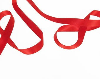Red satin ribbon double sided 10 mm