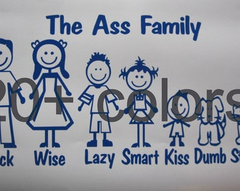 Ass Family Stick Figure Vinyl Decal/Sticker *Available in 24 Colors*