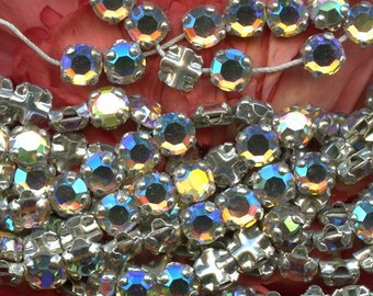Vintage SWAROVSKI RHINESTONES Ab Iris Rose Montees Haskell Crystal Beads lot