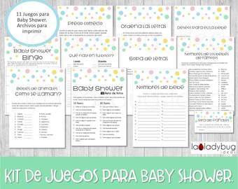 Juegos de baby shower para imprimir. 11 juegos. Baby shower games in Spanish. Sopa de letras, carrera de nombres, bingo. PDF para imprimir.