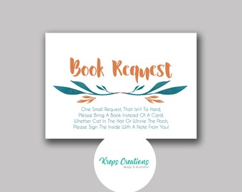 Book Request Card for Baby Shower / Matching Orange Fox