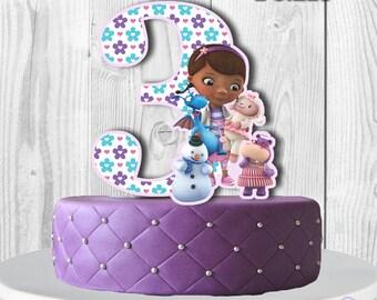 Doc Mcstuffins Cake Topper, NUMBER 3,  Doc McStuffins Centerpiece, Double-sided, PRINTABLE, You Print