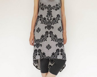 NO.140 Dusty Grey Cotton Jersey Hi-Low Dress, Floral Printed Dress