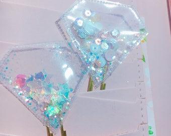 2x Shaker clip diamond glitter for planner agenda deco