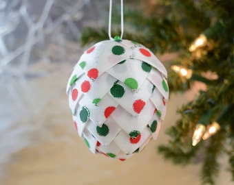 Polka dot Christmas Ornament Modern holiday decoration Red White Green Silver ribbon ornament for tree trimming and christmas gift idea
