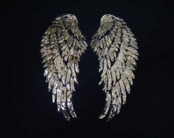 Gold  Angel Wings  Lace Collar Appliques Black Wings Emboridery Collars 1 pair YL331