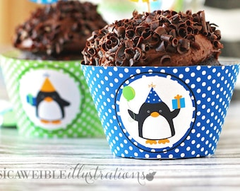 Birthday Penguins Printable Cupcake Wrappers, Cupake Wraps, Penguin Party Printables, Penguin Cupcake Wrappers, Penguin Party, Download