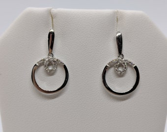 "18K White Gold and Diamond Dangle Earrings ""Final Sale"""