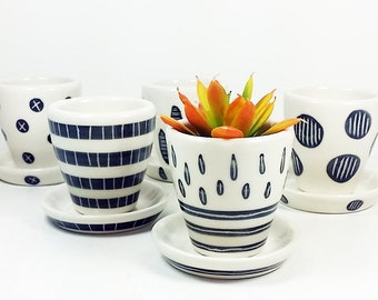 NEW. A Selection of 5 Small Batch Planters for your cutest littlest plants, simply finished in Black & White carved motifs - Ready to Ship