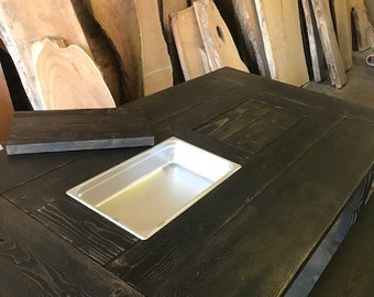 Farmhouse Cooler Tables- can be made for indoor/outdoor purposes!