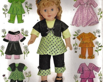 """Simplicity 2458 Summer Clothing 7 Outfits Fits American Girl 18"""" Doll Sewing Pattern UNCUT"""