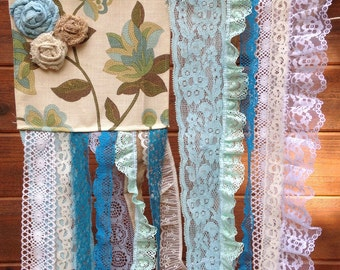 Wall Hanging- Shabby Chic Wall Hanging-Fabric & Vintage Lace- Wall Hanging- Blue -Green - Brown