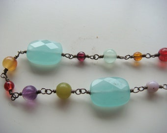 Silver Amethyst and Quartz Necklace
