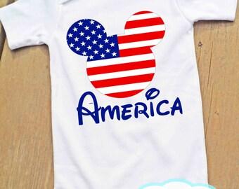 Drapeau américain Mickey Body ou T-Shirt - Amérique - quatrième de juillet