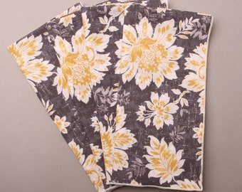 """Summer Table Napkins, Modern Table Napkins, Yellow Gold Flowers on Gray, Home Decor Fabric, 18"""" Square Napkins"""