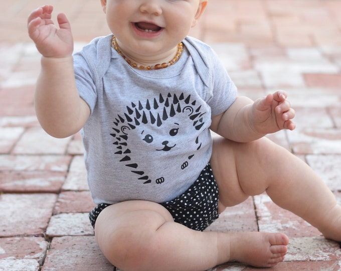 Featured listing image: Hedgehog shirt.  Cute kids Shirt. Kawaii Hedgehog. Animal baby gift. Hipster baby clothes.