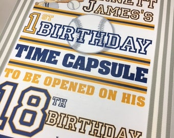 Baseball Theme 1st Birthday Time Capusule Keepsake box- Dark Navy Red and White