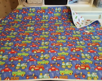 Trucks and cars handmade baby quilt