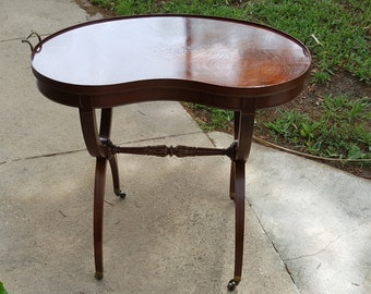 Vintage Wooden Mahogany Brass Handle Kidney Shaped Table