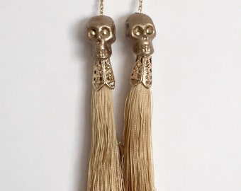 Gold Calaca Skull Tassel Earrings - Dia de los Muertos